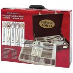 Sterlingcraft® High-Quality, Heavy-Gauge Stainless Steel 72pc Flatware and Hostess Set with Gold Trim