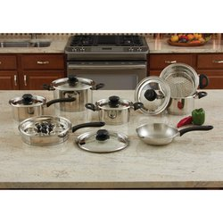 Maxam® 18pc Stainless Steel Cookware Set with Steam Control™ Knobs