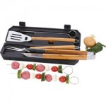 Chefmaster™ 8pc Stainless Steel Barbeque Tool Set with Bamboo Handles