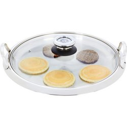 Chef's Secret® by Maxam® Large 12-Element High-Quality Stainless Steel Round Griddle with See-Thru Glass Cover