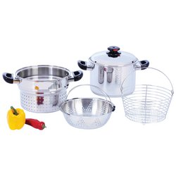 Steam Control™ 8qt T304 Stainless Steel Stockpot/Spaghetti Cooker with Deep Fry Basket & Steamer Inserts