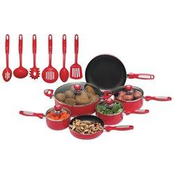 Chef's Secret® 16pc Red Aluminum Cookware Set
