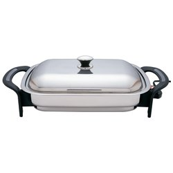 "Precise Heat™ T304 Stainless Steel 16"" Rectangular Electric Skillet"