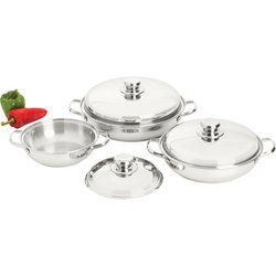 Precise Heat™ T304 Stainless Steel Interior and Exterior 6pc 12-Element Sauté Set